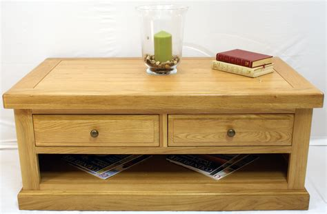 Buckingham Oak Coffee Table 2 Drawers  Glenross Furniture