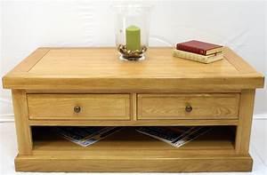 Buckingham oak coffee table 2 drawers glenross furniture for Cheap oak coffee table