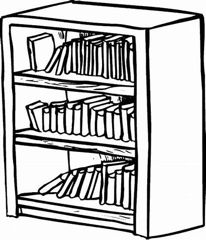 Bookshelf Bookcase Coloring Shelf Drawing Clipart Pages