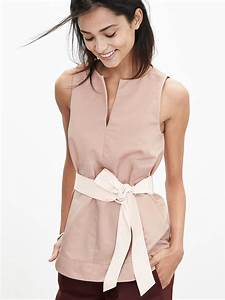banana republic belted sleeveless top in pink lyst
