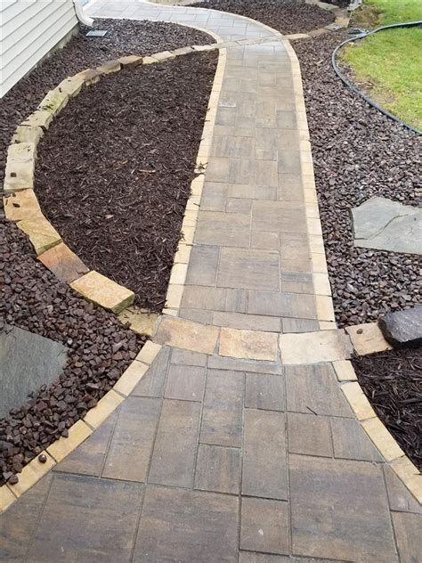natural stone inlay paver sidewalk ns landscapes