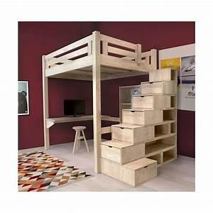Hauteur Lit Mezzanine : lit mezzanine alpage bois escalier cube hauteur r glable ~ Premium-room.com Idées de Décoration