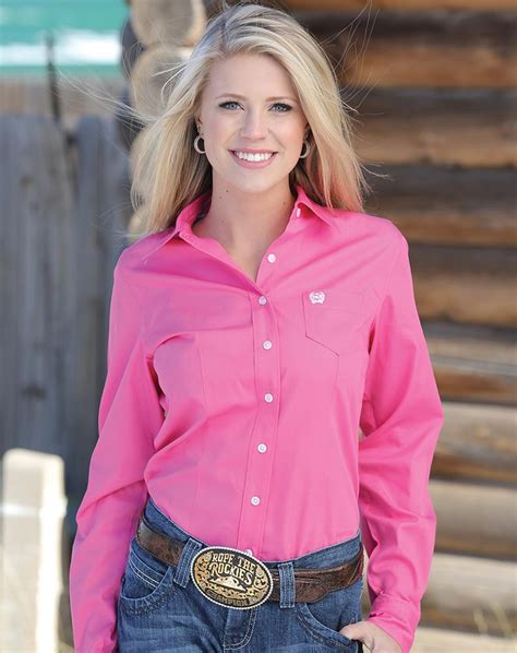 Cinch Womens Long Sleeve Solid Button Down Shirt Pink