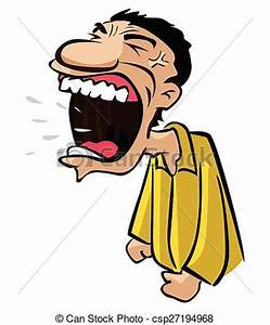 Clip Art Vector of angry man with big shouting mouth ...