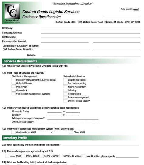 Customer Details Form by Cg New Customer Form Customgoodsllc