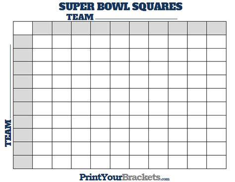 printable super bowl squares  square grid office pool