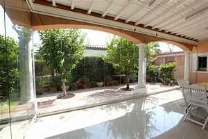 fermeture en verre sans profils verticaux terrasse veranda With rideau pour terrasse exterieur 2 rideau de verre fermeture de balcon terrasse pour