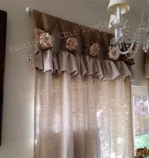 burlap linen wide ruched tabs curtains tea dyed roses