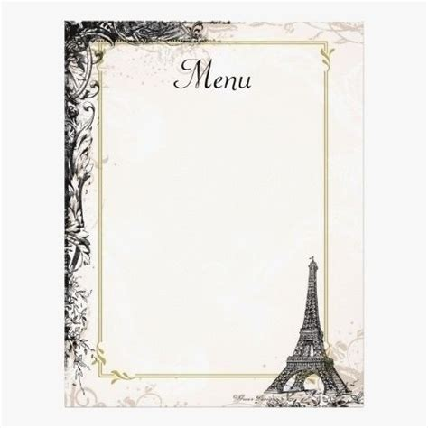 fancy menu template blank french world  printable