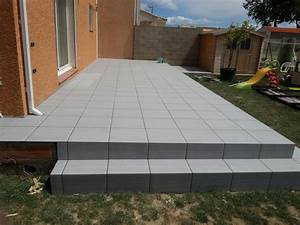 revetement de terrasse carrelage pose droite With pose de carrelage terrasse