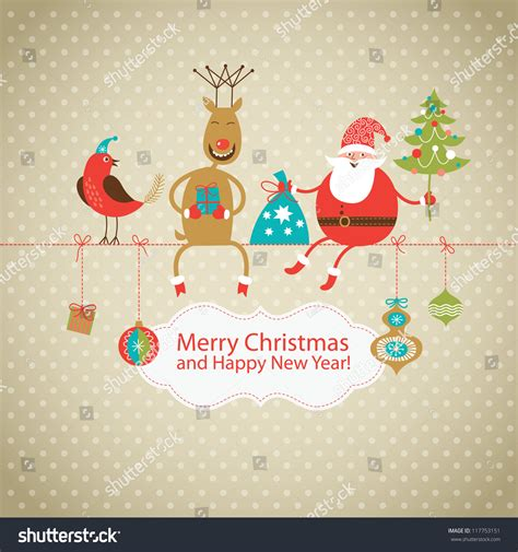 greeting card card santa claus stock vector 117753151