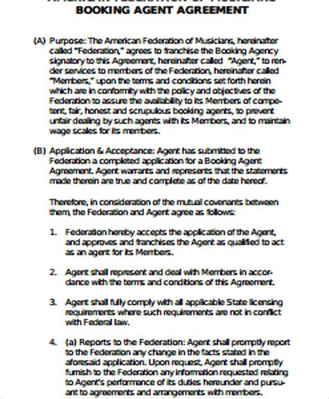 sample agent contract agreement templates