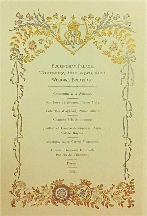 Royal House Menu by The S Wedding Breakfast Menu Royals