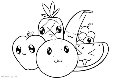 cute food coloring pages cartoon fruits free printable