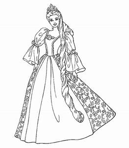 Disney Cartoon : Barbie Doll Princess Coloring Pages