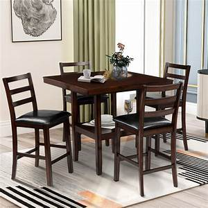 5, Piece, Square, Counter, Height, Dining, Table, Set, Kitchen, Dining, Room, Furniture, Set, Pub, Bar, Set