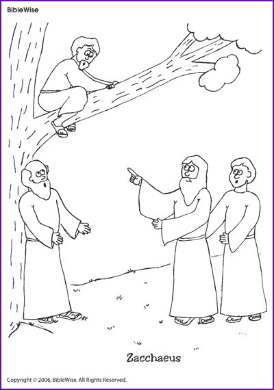 coloring zacchaeus kids korner biblewise