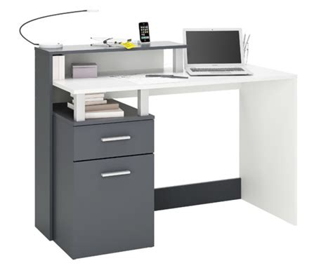 bureau multimedia bureau multimedia 1 porte 1 tiroir oracle blanc graphite