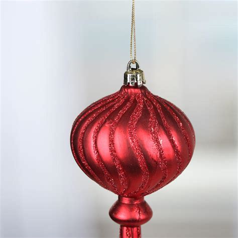 red sparkling acrylic finial ornament christmas