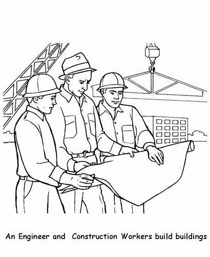 Construction Coloring Pages Workers Site Worker Colouring