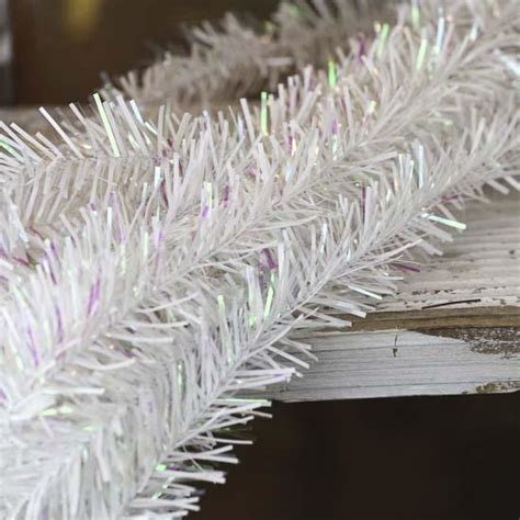 iridescent white rope tinsel garland christmas garlands