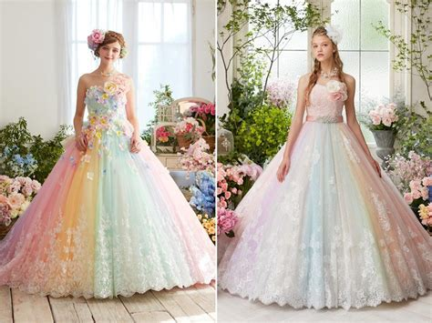 wedding dress with color 27 princess worthy wedding dresses featuring pastel color