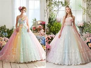27 princess worthy wedding dresses featuring pastel color With pastel color dress for wedding
