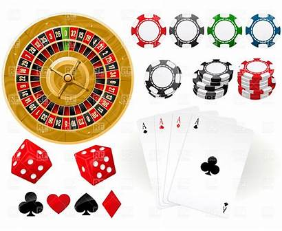 Casino Clip Gambling Clipart Chips Cards Playing