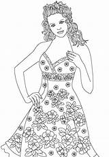 Coloring Outline Colouring Printable Models Adult Template Figure Princess Model2 Advertisement sketch template