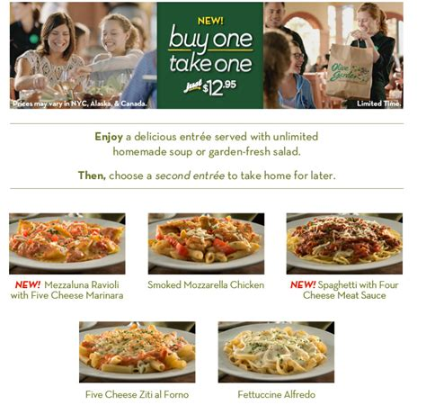 olive garden buy one get one olive garden buy 1 entree get 1 free take home 12 95