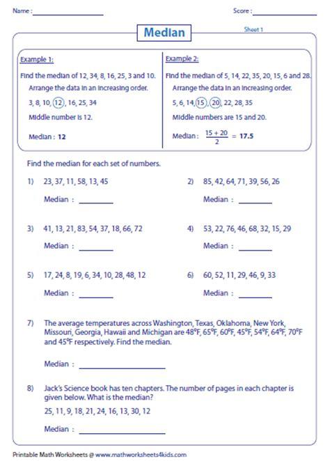 median mode and range worksheets