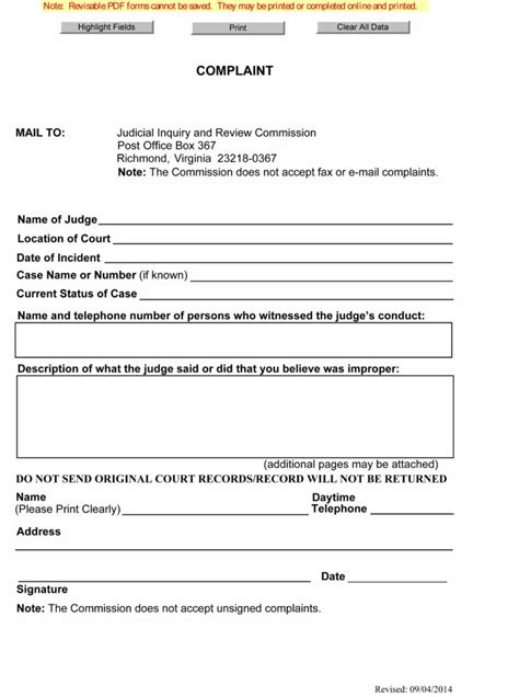 hud complaint phone number free judicial inquiry and review commission complaint form