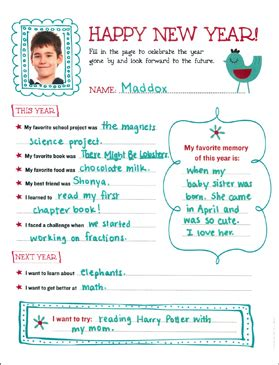 years resolution template printable skills sheets