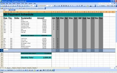 bill organizer template excel bill payment schedule excel bill payment schedule