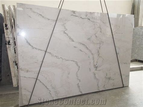 white macaubas quartz kitchen