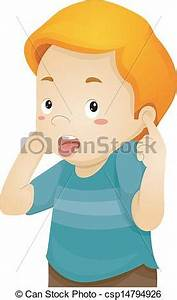Vector Illustration of Little Boy Covering His Ears ...