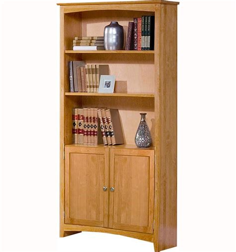 Wide Bookcase With Doors by Alder Shaker 24 Quot Wide Bookcase With Doors