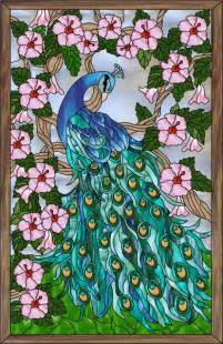 Peacock Stained Glass Window Film