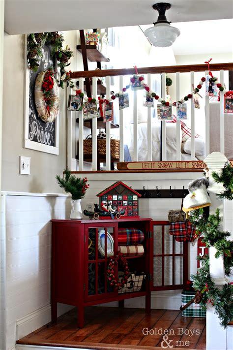 golden boys    rustic christmas entryway