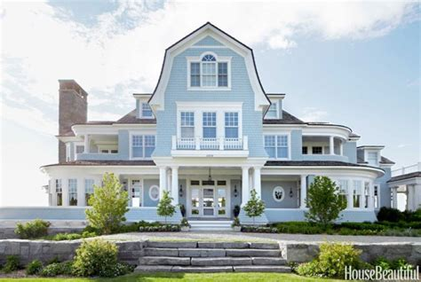 waterside home decorated in blue and white
