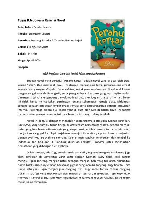 Contoh Resume Novel Perahu Kertas by Contoh Resensi Novel Myideasbedroom