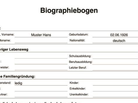 Biografie Vorlage Beispiel by Vorlagen Meinpflegedienst