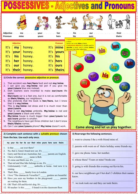 possessives adjectives and pronouns interactive worksheet