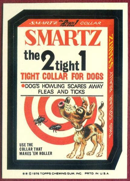 wacky stickers mad magazine packages adult cards trading pail garbage dog stupid packing hood cartoons child funny collar tight smartz