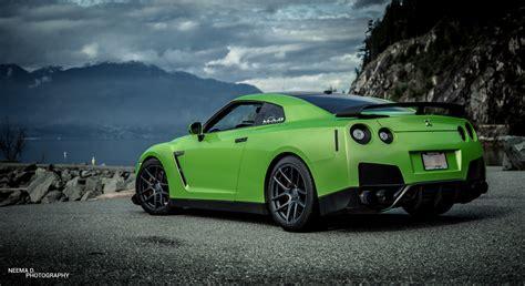 green nissan gt  velgen wheels