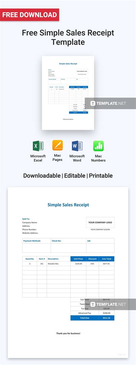FREE Simple Sales Receipt Template - PDF | Word (DOC ...
