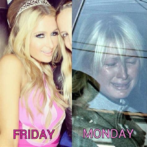 Paris Hilton Meme - friday monday paris hilton memes and comics