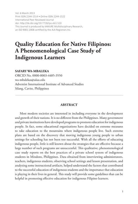 quality education  native filipinos
