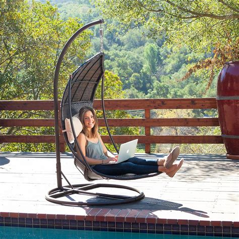 review outdoor hanging lounger swing chair with stand