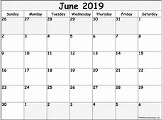 June 2019 blank calendar printable collection